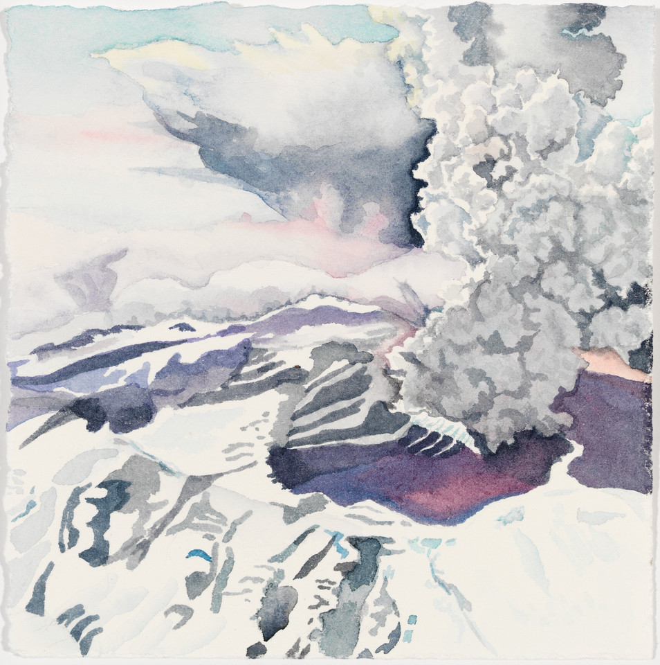 "Explosive Protest, watercolor, 11"" x 11"""
