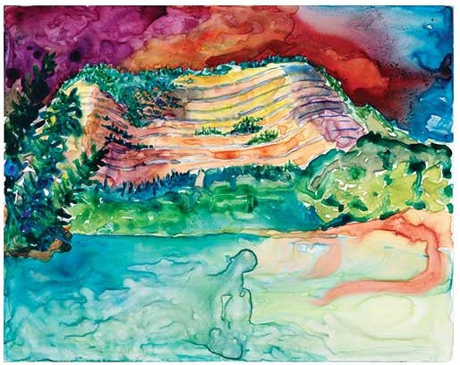 """Sacred Sleeping Buffalo, Private Collection, watercolor 12""""x16"""", Private Collection"""