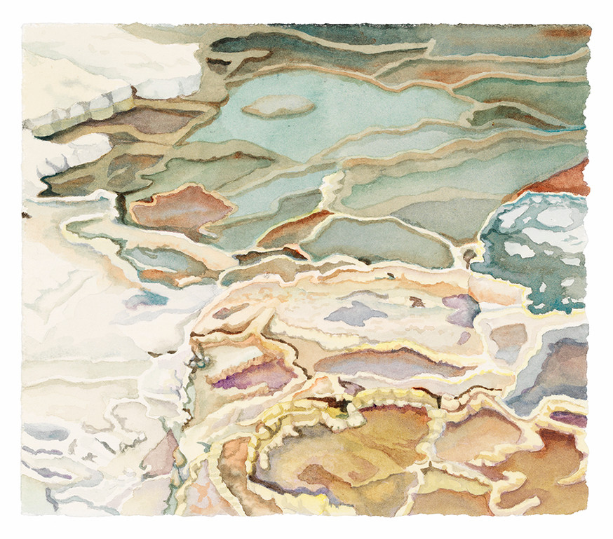 """Impressions, (Yellowstone NP) watercolor, 6 1/2"""" x 7"""""""