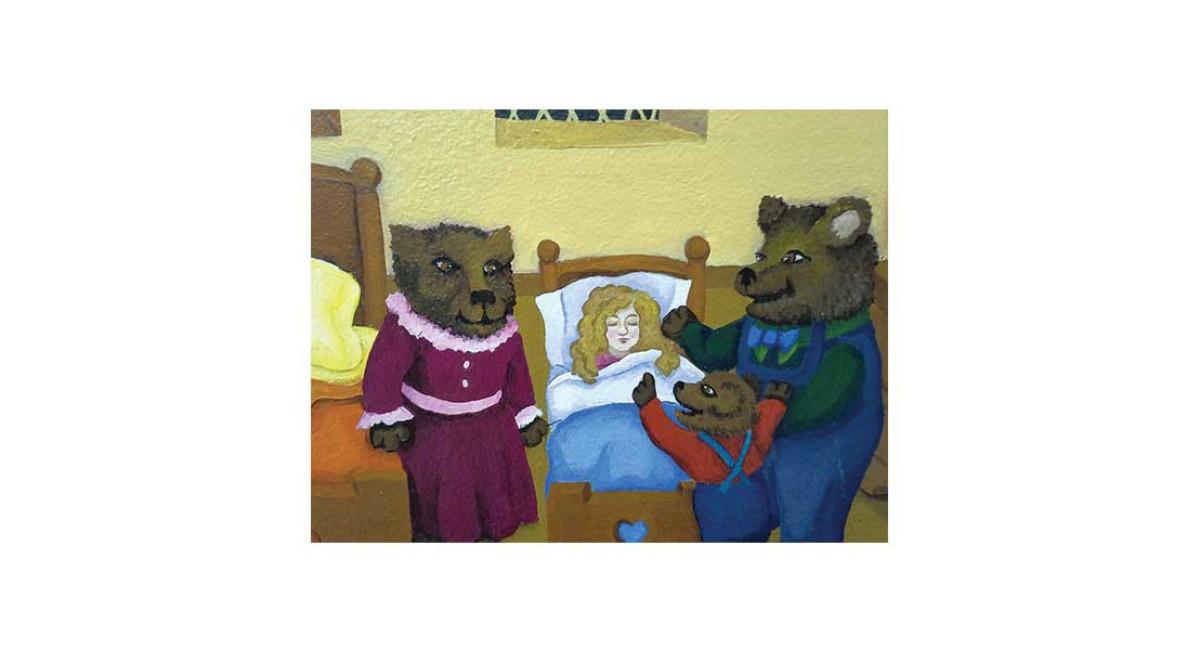 Goldilocks and the Three Bears, acrylic