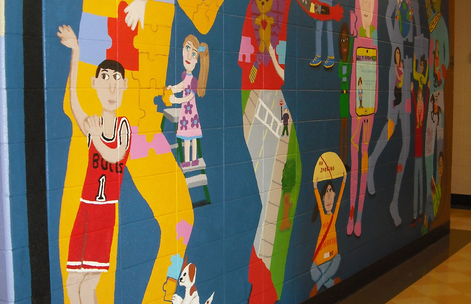 South school mural, Des Plaines, with 4th graders