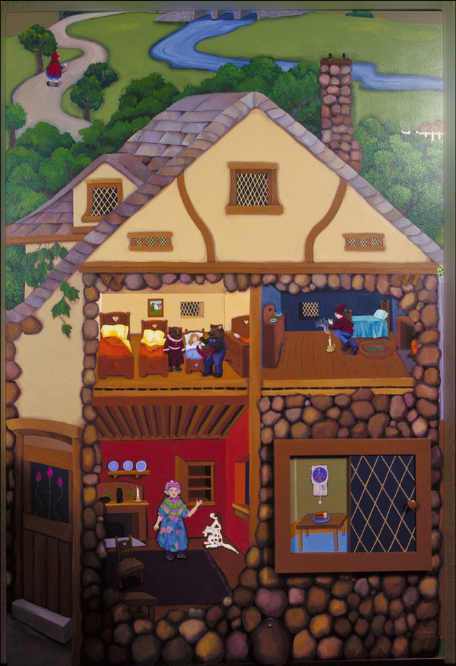 detail, Inger Boye Children's Room mural; cottage with moveable windows; nursery rhyme stories