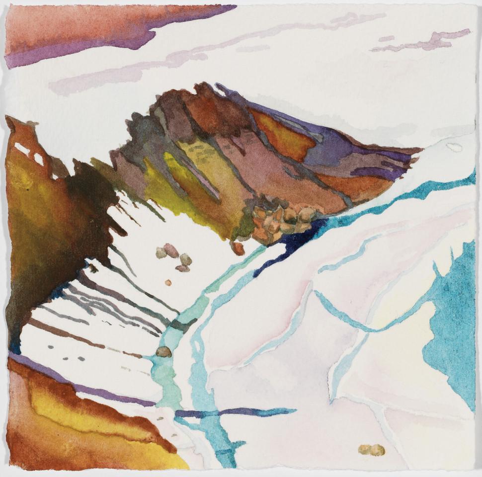 """Viti Snow Map, watercolor, 5"""" x 5"""""""