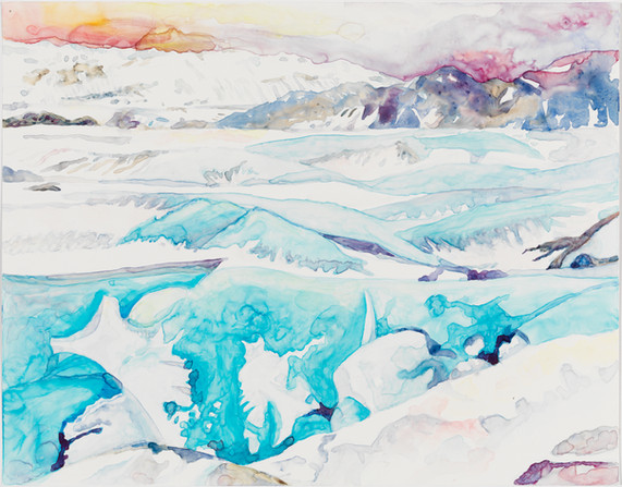 "Aglow, watercolor on yupo, 11"" x 15"""
