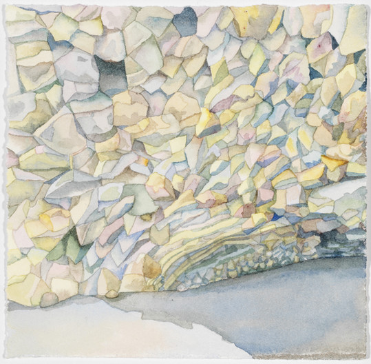 "Reynisdrangur Cave, watercolor, 5"" x 5"""
