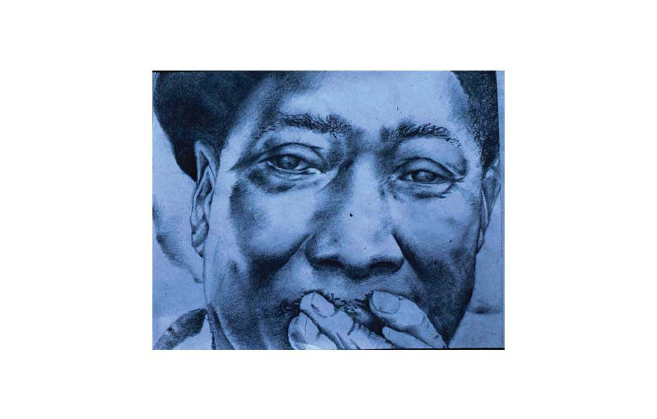 Jazz Fusion drawing, pencil, Muddy Waters, by high school student