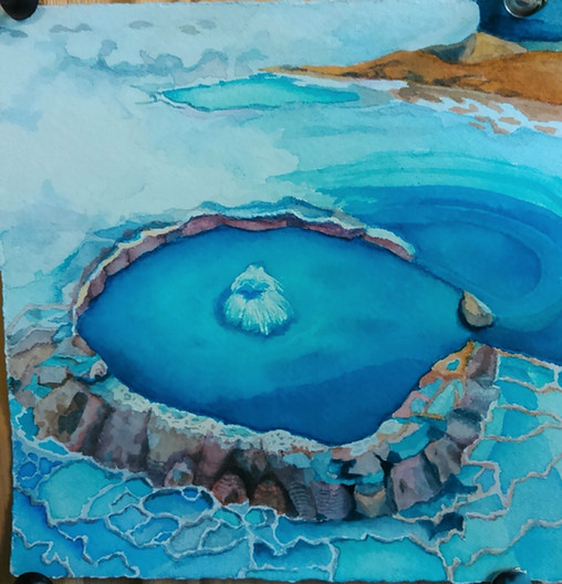 """Blue Crater, watercolor, 11"""" x 11"""""""
