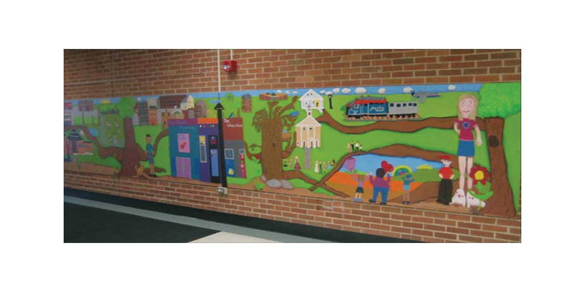 Creating Community, 4' x 24', created with 4th grade students at Ridge Family Center for Learning, Elk Grove Village, IL