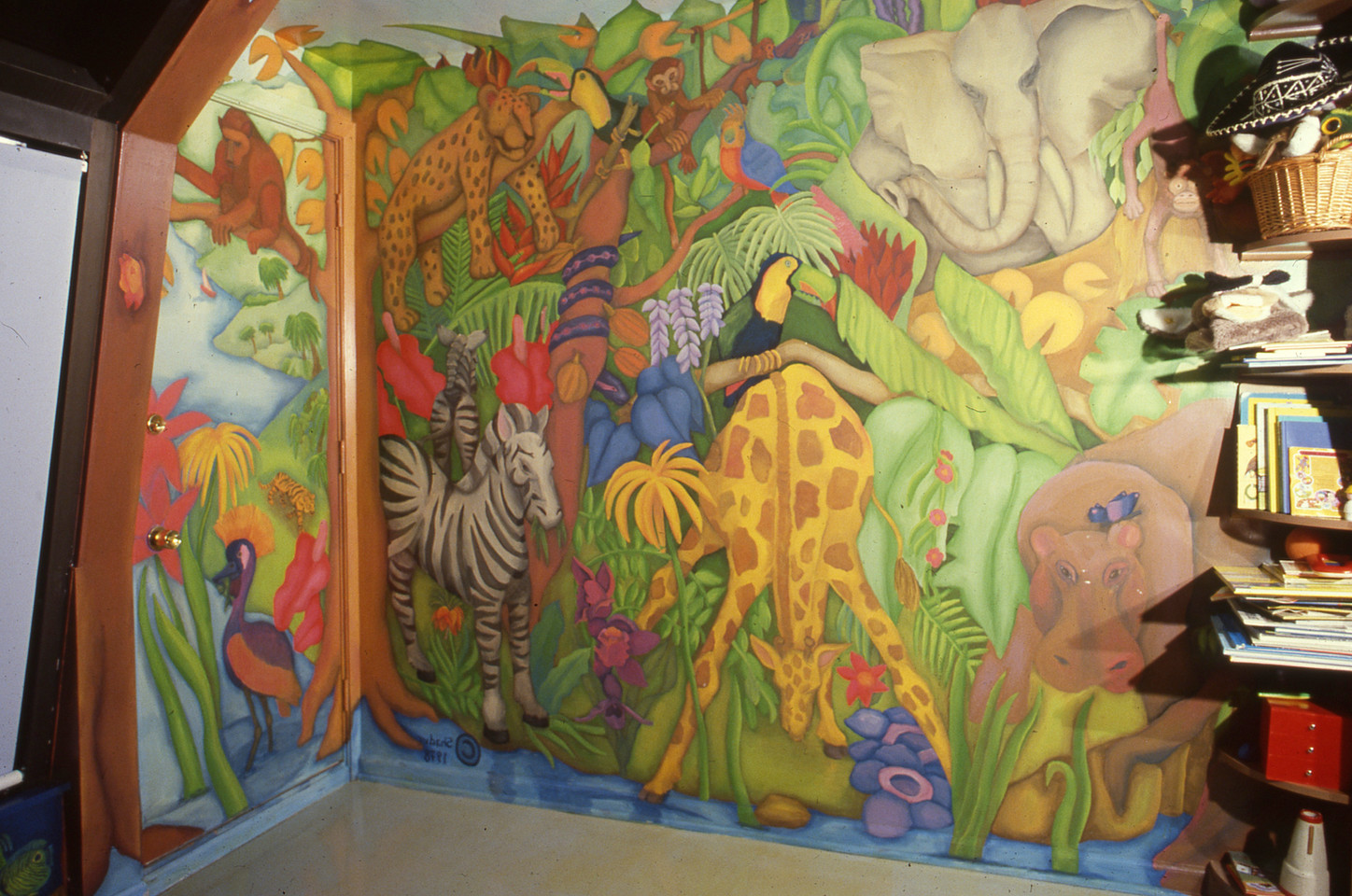 Private home, children's mural, Chicago IL. Whole room decorated including furniture