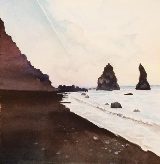 "Reynisdrangur Guardians, watercolor, 11"" x 11"""