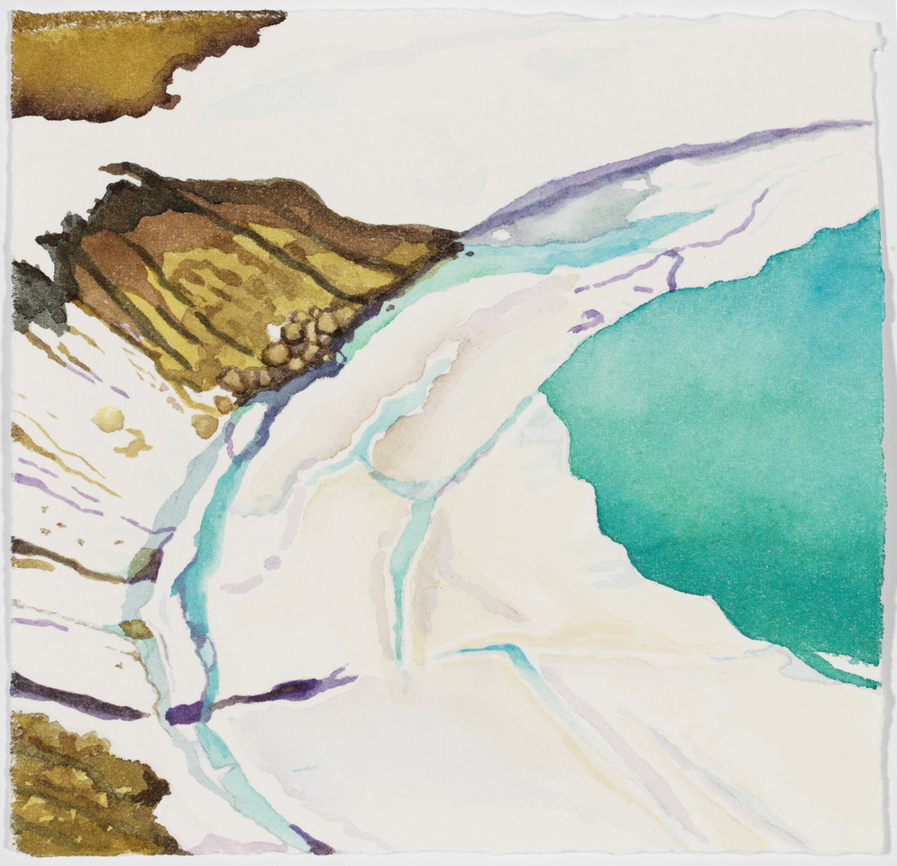 "Snow Map, watercolor, 5"" x 5"""