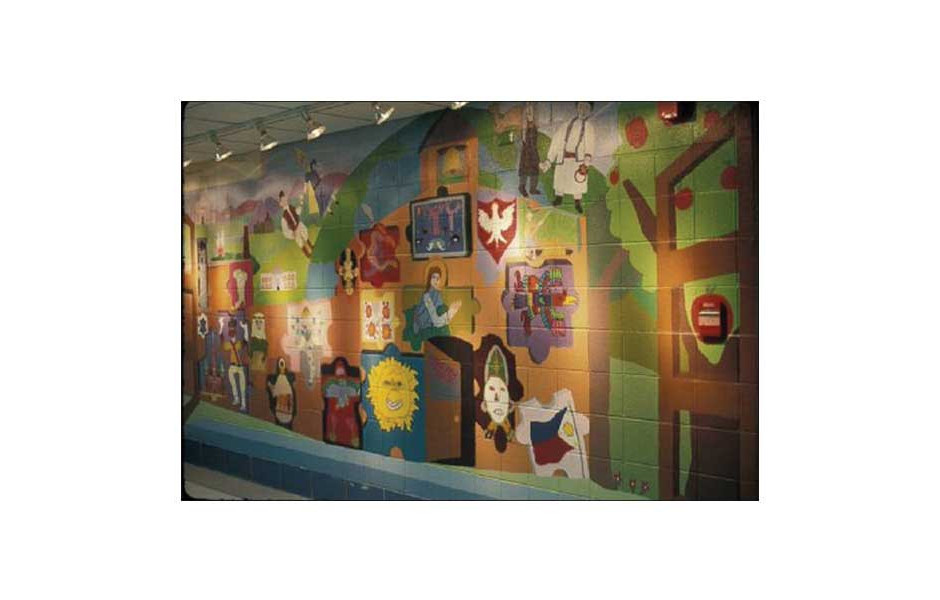 multicultural mural, Parkview Elementary school, Morton Grove IL, 8' x 30'