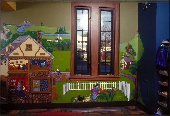 Nursery rhyme theme mural, Inger Boyer Children's Room, Highland Park Library, Highland Park, IL
