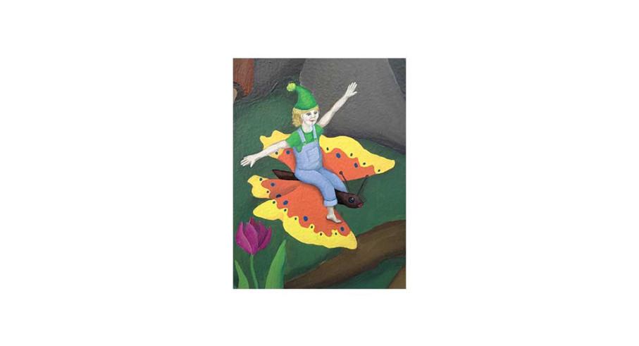 Boy riding butterfly, acrylic
