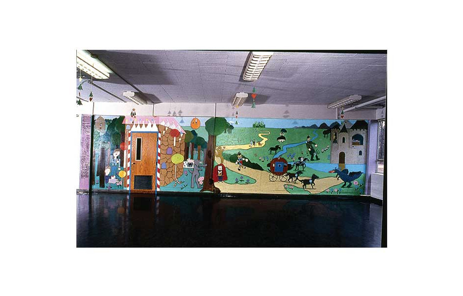 Learning From Literature, 4th grade mural at Nashold Elementary School, Rockford IL, 10' x 60