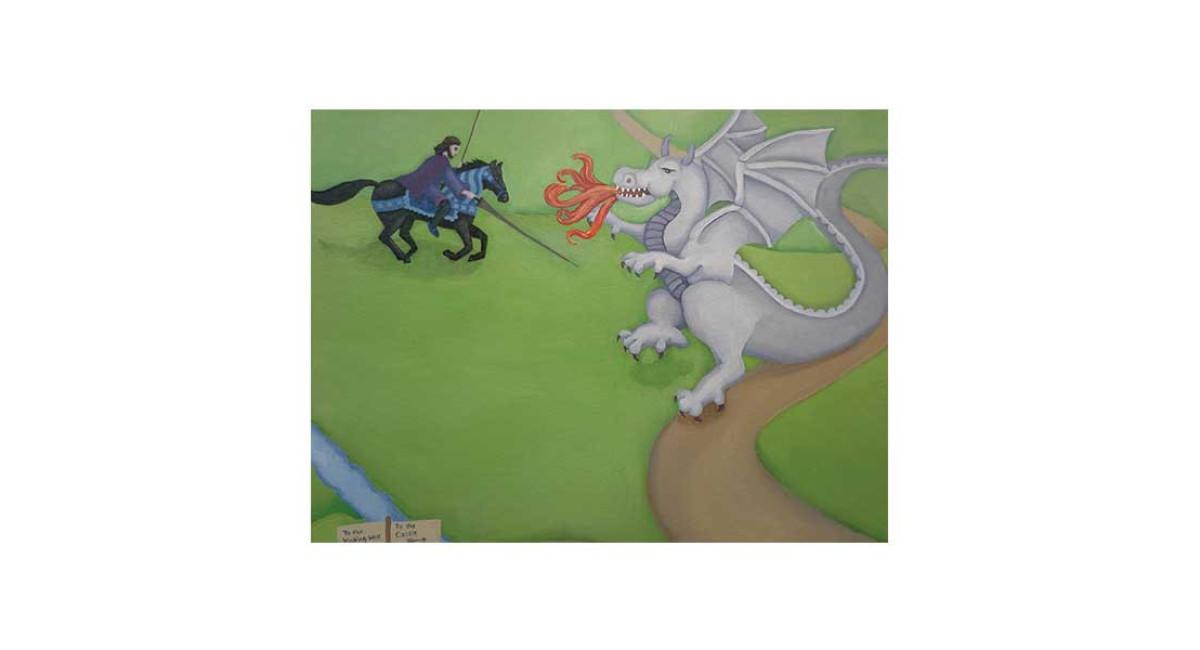 Knight fighting dragon, acrylic