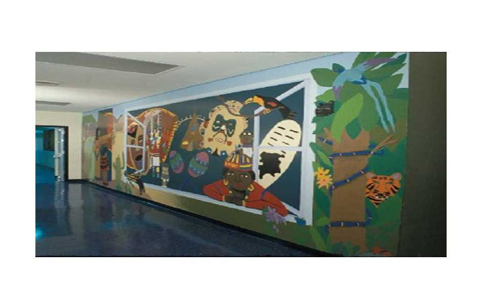 multicultural mural with 4th grade students, Hollywood Park Elementary School, Hollywood FL