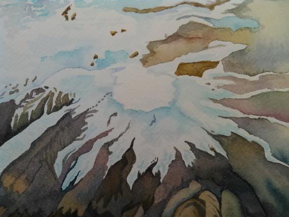 "Ice Cusp, watercolor, 11"" x 11"""