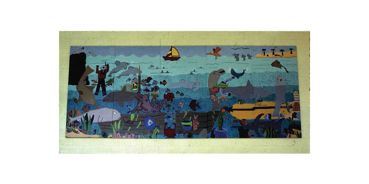 underwater fantasy mural, Daniel Elementary School, Danville IL, with 4th grade students