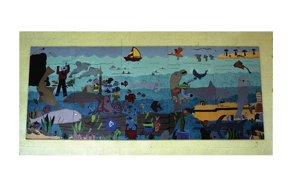 underwater fantasy mural, Daniel Elementary School, Danville IL, with 4th grade students