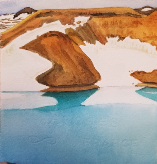 "Deep Cerulean, watercolor, 5"" x 5"""