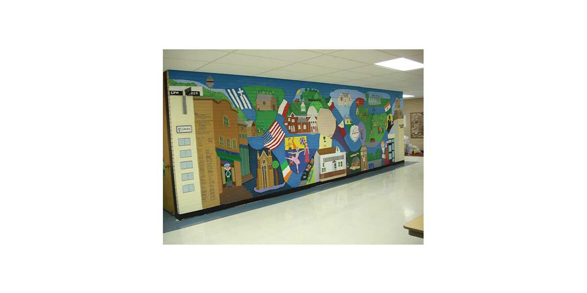 Addison History Mural, Fullerton Elementary, created with  4th graders, Addison IL