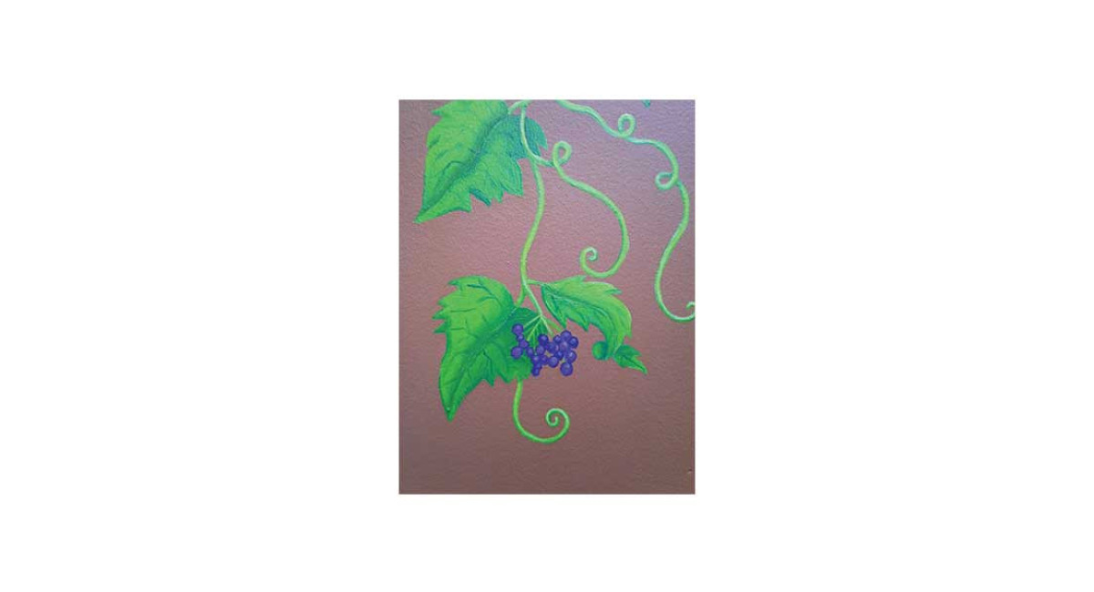 Vines with flowers, acrylic