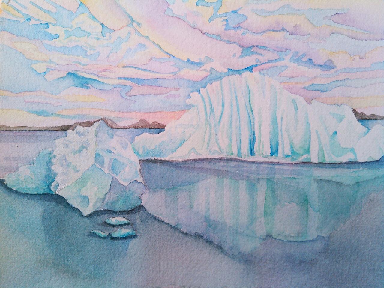 """Glacial Glow, watercolor, 11"""" x 13"""""""