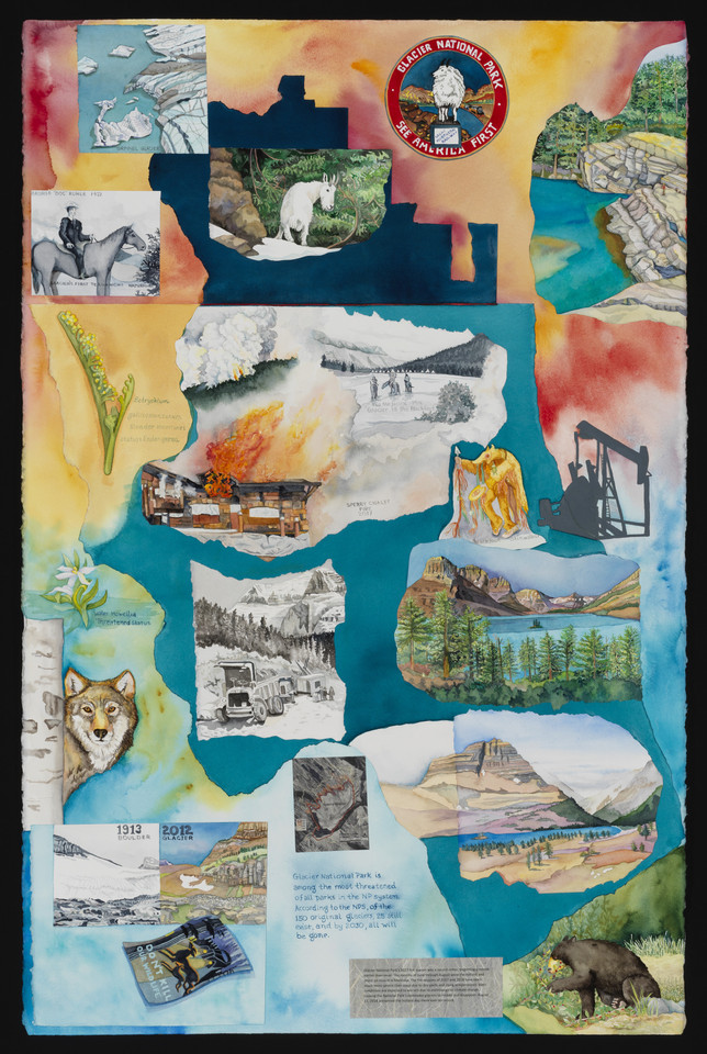 "Warming Peril, (Glacier NP) watercolor with mixed media, 47"" x 36"""