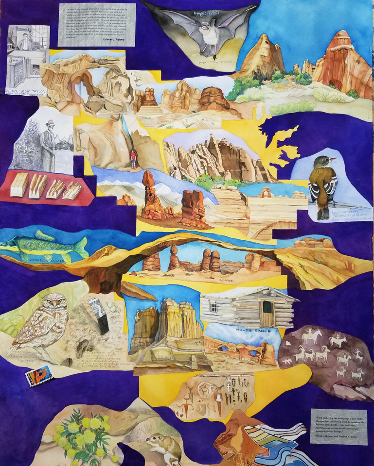 """A Different World (Arches NP) watercolor with mixed media, 43"""" x 34"""", 2019."""