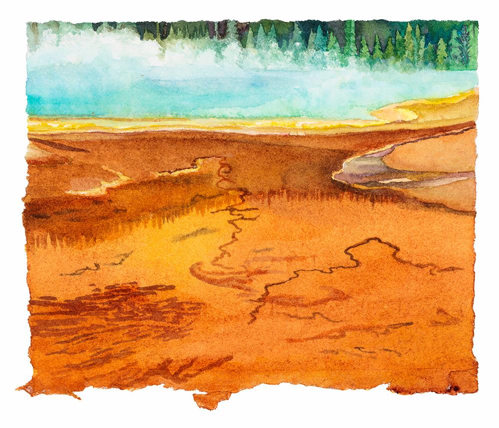 "Grand Prismatic Mist (Yellowstone NP),  watercolor 4"" x 5"""