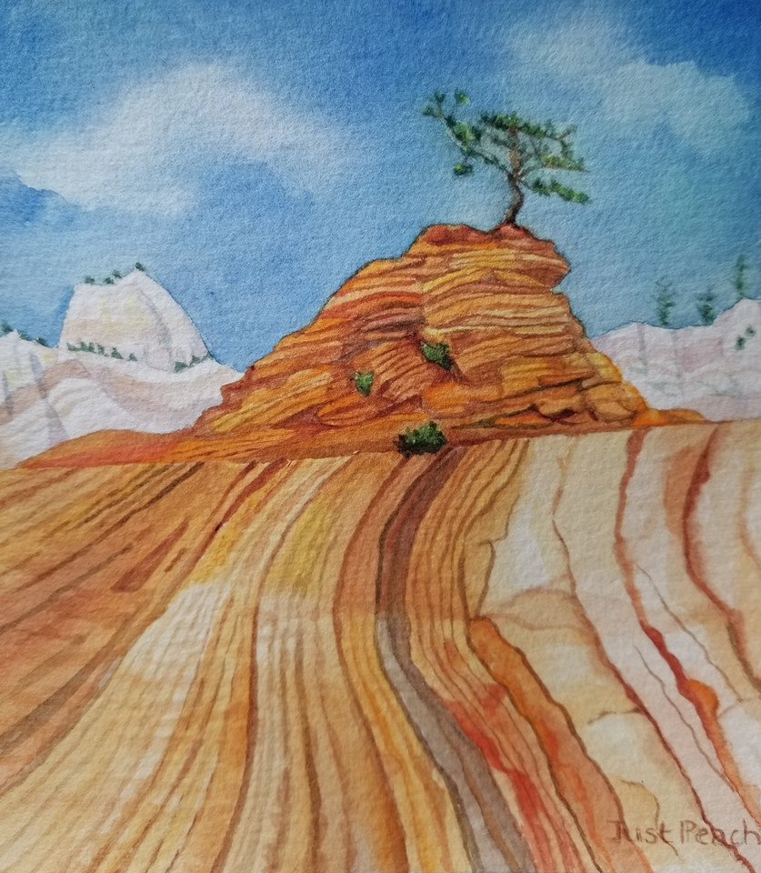 Just Peachy, (Zion NP), watercolor