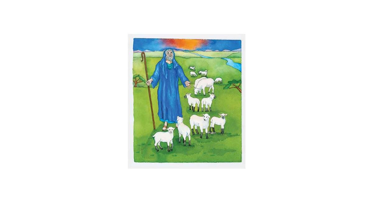 When Sarah Laughed, Abraham and his sheep, watercolor