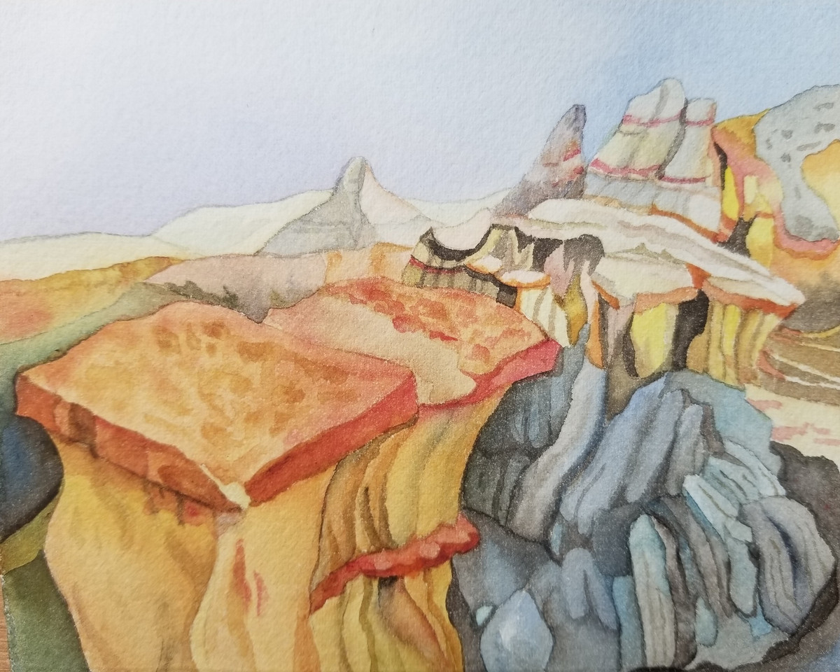 Party Girls, (Theodore Roosevelt NP), watercolor