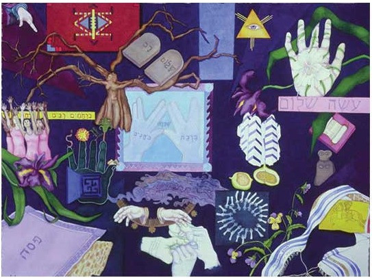 """Tikkun Olam wc w/acrylic and cp, Collection: Sel Help Home, 30"""" x 38"""""""