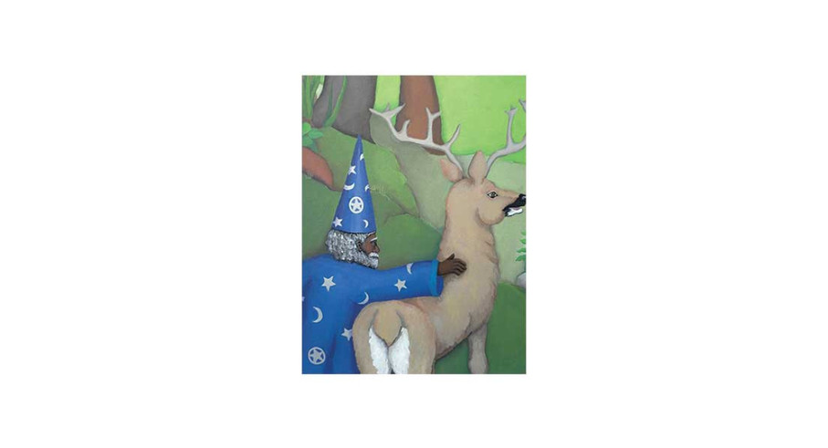 The Wizard with his reindeer friend, acrylic