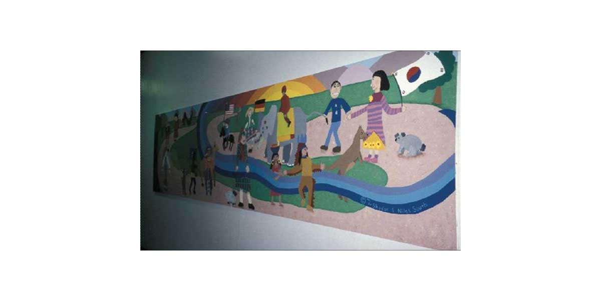 Together, 4' x 20' created with third graders, Niles Elementary School, Niles IL