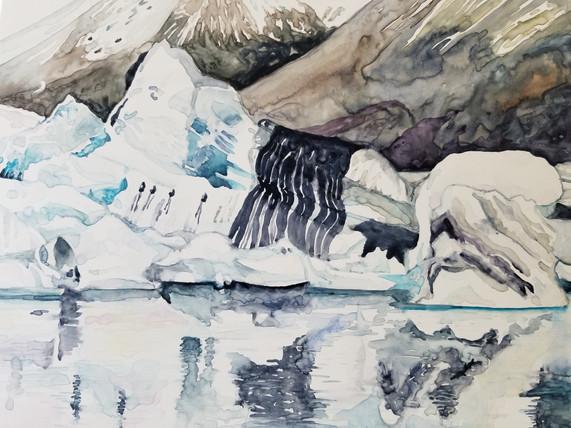 """Beauty in Terror, watercolor on yupo, 11"""" x 15"""""""