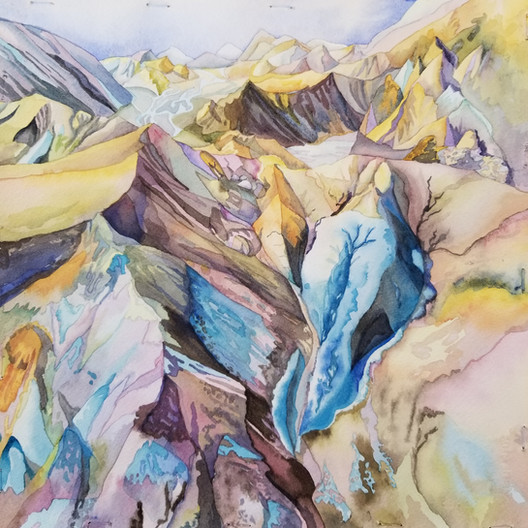 "Rhyolite Rainbow, watercolor, 17"" x 17"""