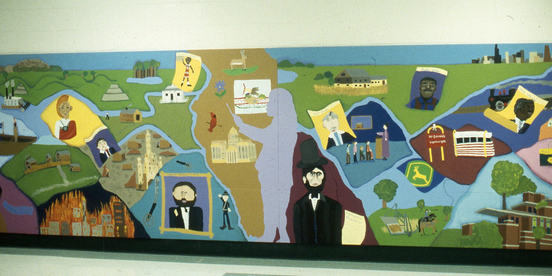 Illinois History mural , Ridge Family Center for Learning, Elk Grove Village, IL; created with 4th grade students