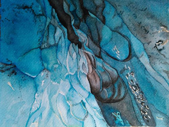"Blue Energy, watercolor, 17"" x 21"""