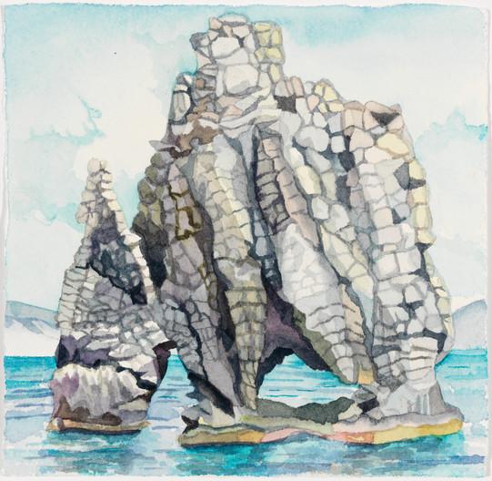 """Strolling Troll, watercolor, 5"""" x 5"""""""