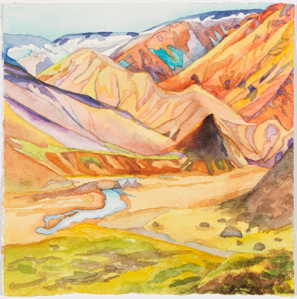 "Trek, Back of Beyond, watercolor 5"" x 5"""
