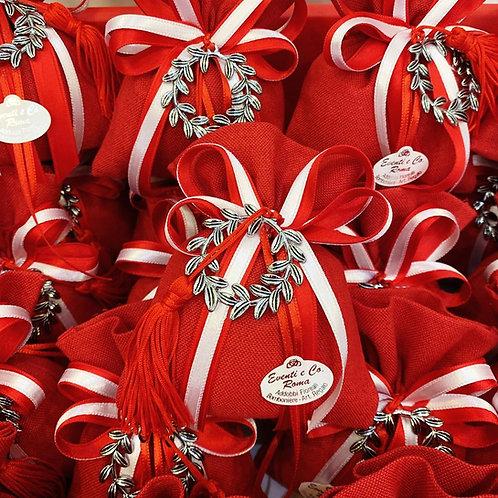 Sacchetto Laurea rosso con ciondolo corona di alloro