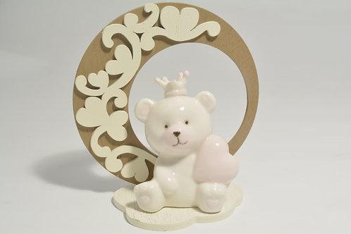 Orsetto in  con supporto in legno (celeste/rosa)