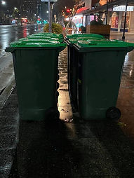 No dumpster diving for food.  Last night I took a picture of the bins, this is where I go. My mate took the pic as my camera is crap - we did it for you guys, and to tell everyone that this is a normal for me and lots of my mates.