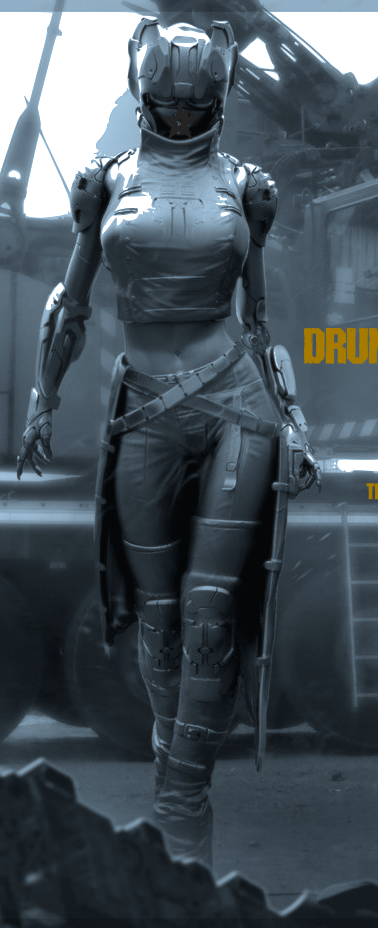 Drunna is an audio-telepath with an array of naturally endowed psionic abilities. Her tenure with the femme-fatale assassin squad, The Seven, has boosted her professional status exponentially.