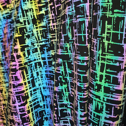 Abstract Tic-Tac-Toe Rainbow Reflective Print, STRETCH Jersey Fabric