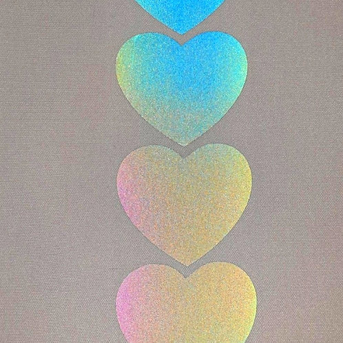 Rainbow Reflective Hearts Heat transfer film sold by the metre