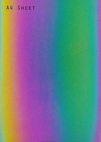 A4 sheet of Reflective Iridescent Vegan Leather - Rainbow Leatherette fabric
